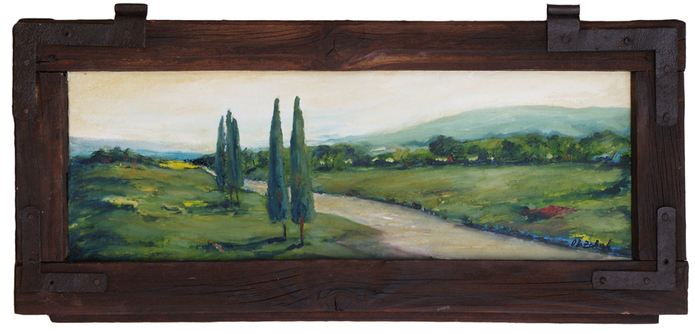 60×29 cm, oil on canvas, in old window