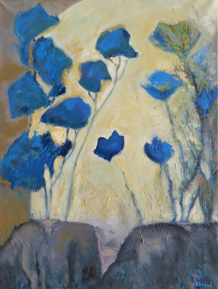 Blue flowers, 60x80 cm, mixed media and oil on canvas, 2016.
