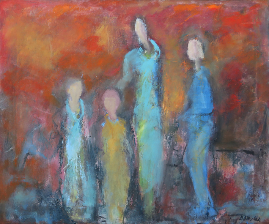 Four figures, 60x50 cm, oil on canvas, 2019.